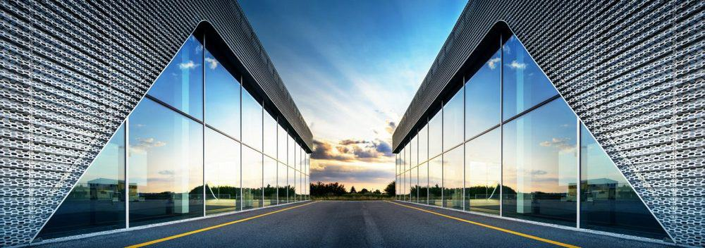 A building with smart glass window panes