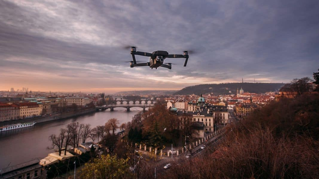 Drone flying over Prague city