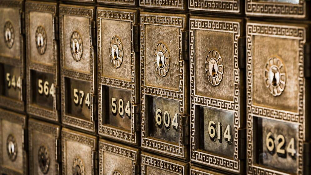 Safe deposit boxes at a bank