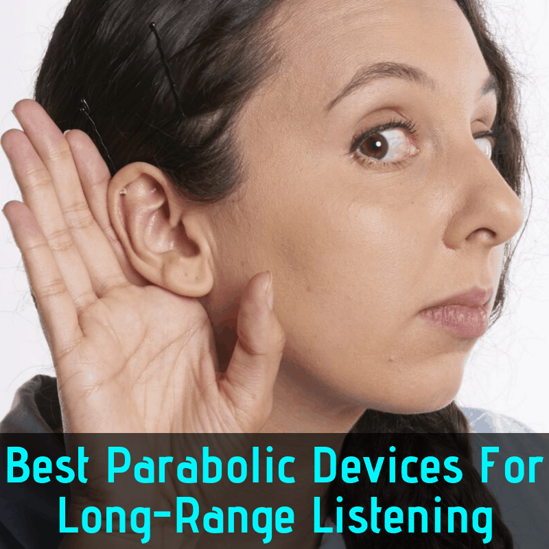 Woman trying to listen to long-range conversation without a device