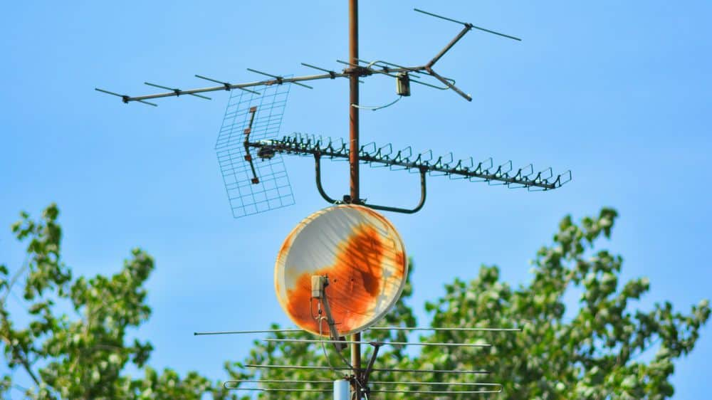 Two antennas, one old and one new