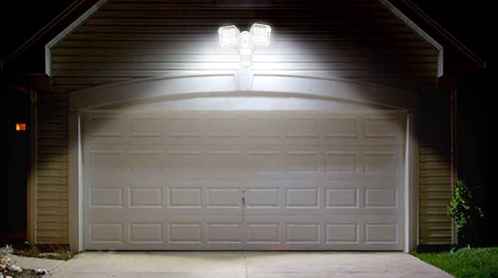 outdoor security light mounted to garage