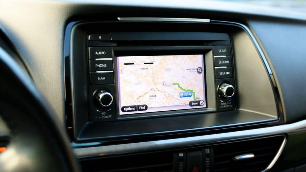 GPS system in a car