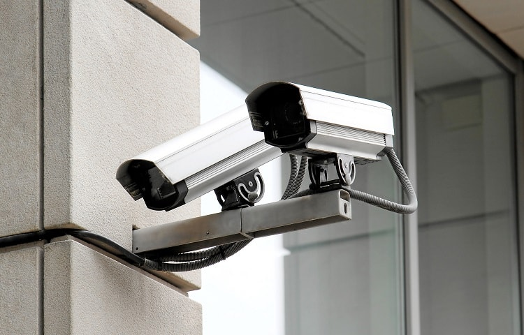 Security camera on house wall