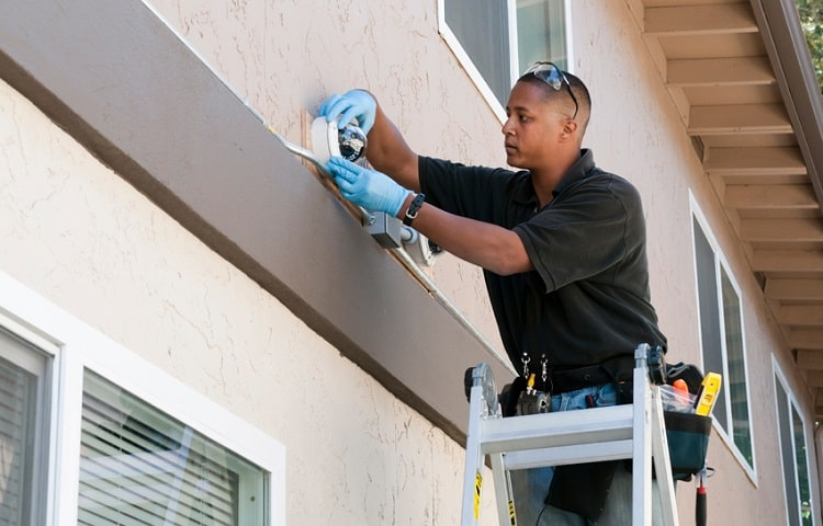 Wired security camera installation