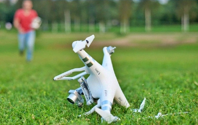 drone falls on ground