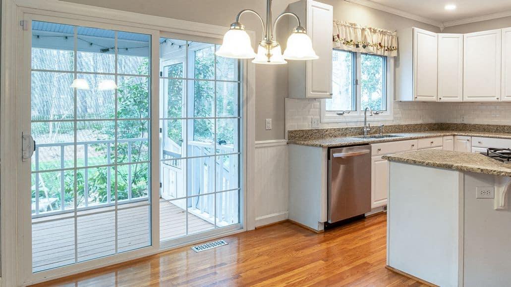 sliding glass door by kitchen