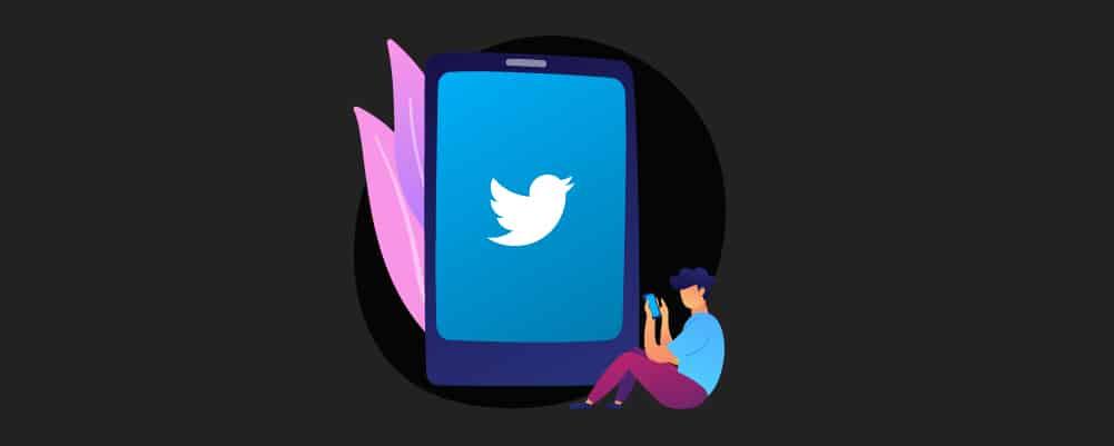 Man carefully browsing twitter