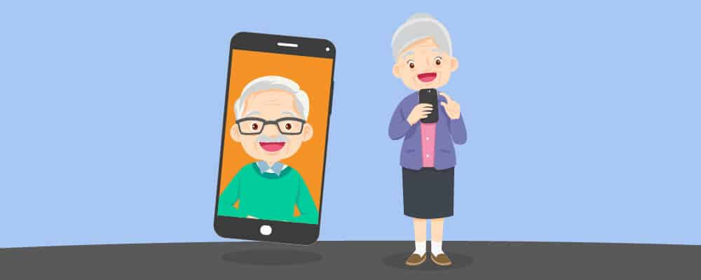 Two Elderly contacting each other online