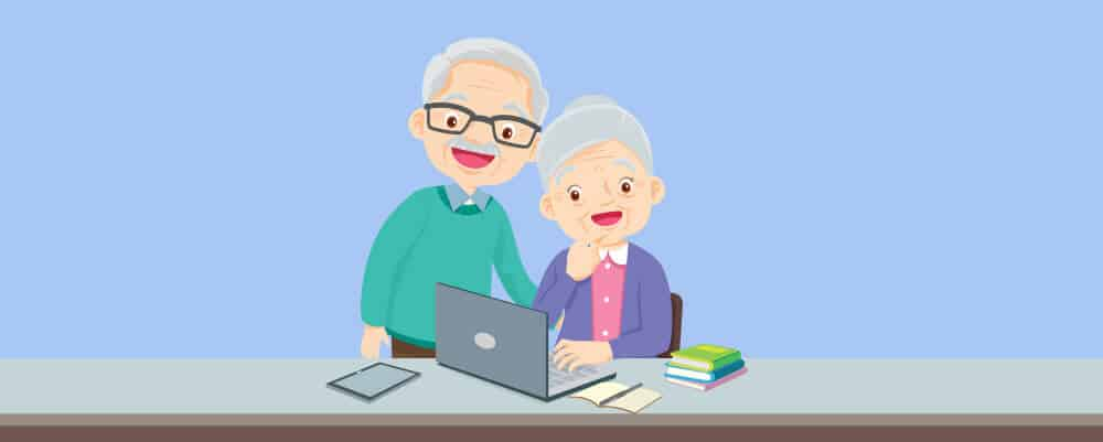 Two elderly video chatting with someone